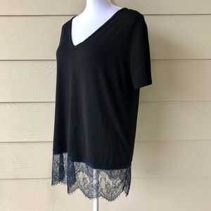 Piko 1988•Black Top with Lace Trim